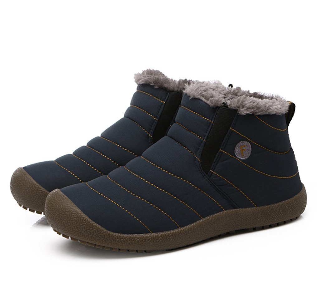 JACKSHIBO Mens Womens Slip On Outdoor Winter Boots Fur Lined Outdoor On Anti-Slip Snow Boots B01M9FQ3WF Men 10.5(M)B US|Blue-high Top f40d56