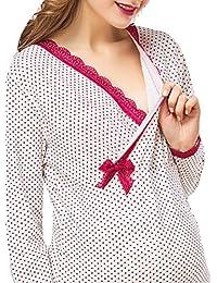 YAN Women's Cotton Maternity Nursing Pajamas Sleepwear Soft Nightdress