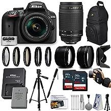 Nikon D3400 24MP DSLR Digital Camera AF-P 18-55mm + NIKKOR Lens 70-300mm + High Definition Professional 5 Piece Filter Kit + 128GB Memory SD Card Accessories Bundle Kit