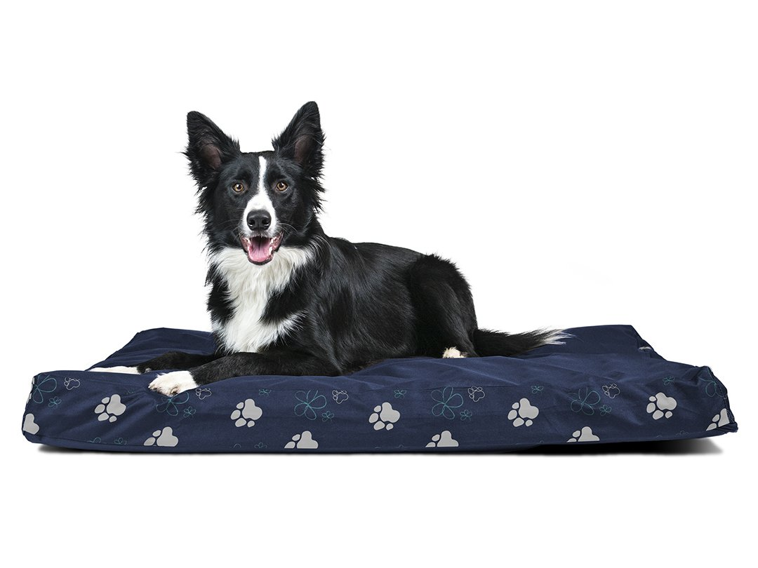 Furhaven Pet Dog Bed   Deluxe Orthopedic Polycanvas Indoor Outdoor Garden Mattress Pet Bed for Dogs & Cats, Lapis bluee, Large