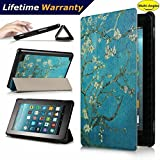 DHZ Folio Case for Amazon Fire HD 8 Tablet(2017 and 2016 Release,7th/ 6th Generation) - Ultra Lightweight Smart Cover Slim Tri-fold Stand Leather Case with Auto Wake / Sleep,Apricot Flower