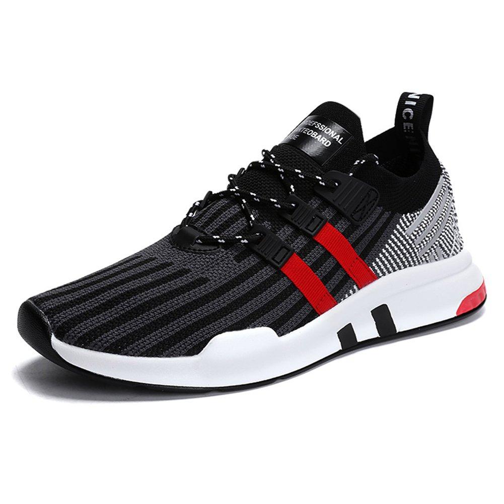 Senbore Zapatillas de Atletismo de Material Sintético para Hombre Gris Gris 42 EU 46 EU|Noir & Rouge-3