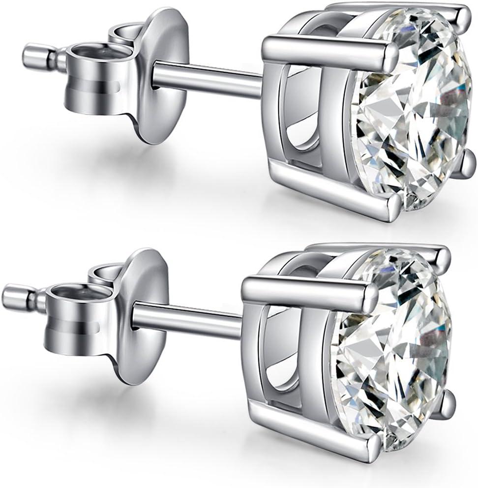 2. Fashion 925 Sterling Silver Princess Cut Stud Earrings