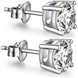 ZowBinBin Earrings Fashion 925 Sterling Silver Round Cut Cubic Zirconia Stud Earrings 4mm 5mm 6mm 7mm 8mm