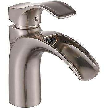 Eyekepper Nickel Brushed Waterfall Bathroom Sink Vessel faucet ...