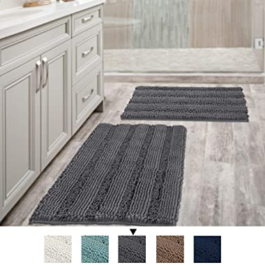 H.VERSAILTEX Grey Bath Mats for Bathroom Non Slip Ultra Thick and Soft Chenille Plush Striped Floor Mats Bath Rugs Set, Microfiber Door Mats for Kitchen/Living Room (Pack 2-20  x 32 /17  x 24 )