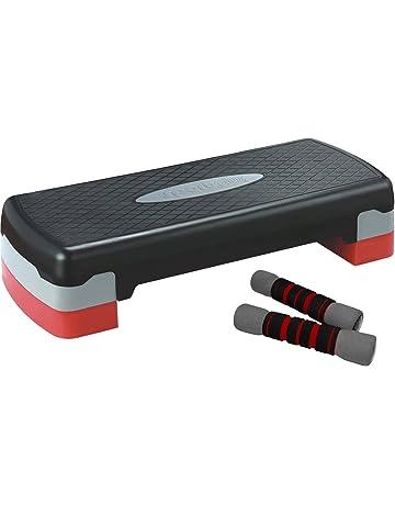 SportPlus Plataforma aeróbica Step Incl. 2X Mancuernas Suaves de 1 kg, Regulable en Altura