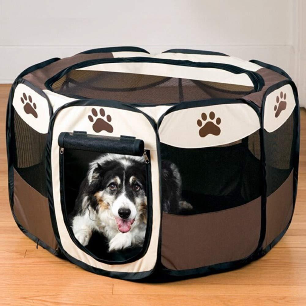 Box per Cani Forniture per Animali Gabbia per Cani Pet Carrier Recinzione Canile Comodo Cucciolo per Cane Box per Cani Oxford Tessuto Pieghevole Pet Tent-Coffee, L