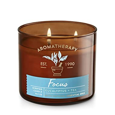 'Bath & Body Works 3 Wick Candle – Aromatherapy Scented Candle – Eucalyptus & Tea Focus