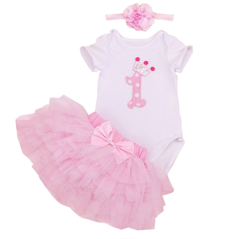 2a1bb9ca0631f BabyPreg Baby Girl Onesies 1st Birthday Tutu Outfit Dress Set 3PCs (Pink,  9M/ 6-9Months)