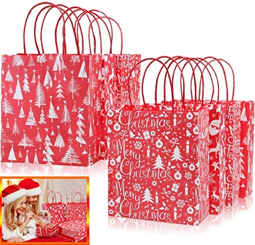Christmas Bags for Gifts, 24 PCS Christmas Holiday Bags, Paper Party Favor Goodie Gift Bags with Assorted Prints for Christmas Kraft Favors Bag(Red)