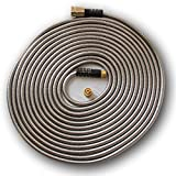 50' Metal Garden Hose By QSP, Stainless Steel with Brass Sprayer