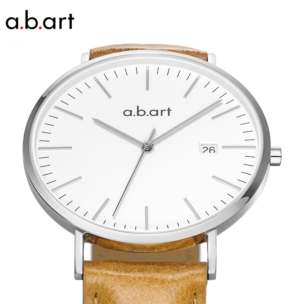 His gift a.b.art FB41-131-3L Wrist Watches for Men Light Brown Strap Silver Case Swiss Watch (Brown and Silver) by a.b.art (Image #4)