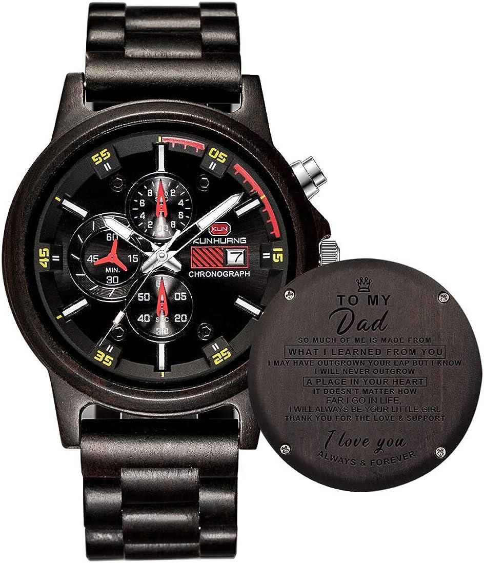 Junmei Relojes de Madera Grabados Personalizados, Relojes versátiles para Hombres, Reloj de Madera Personalizado de Cuarzo para cronógrafo y Pantalla de Fecha de Padre e Hijo papá