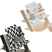 Stokke Tripp Trapp High Chair Cushion Set - Black Chevron & Grey Leaf