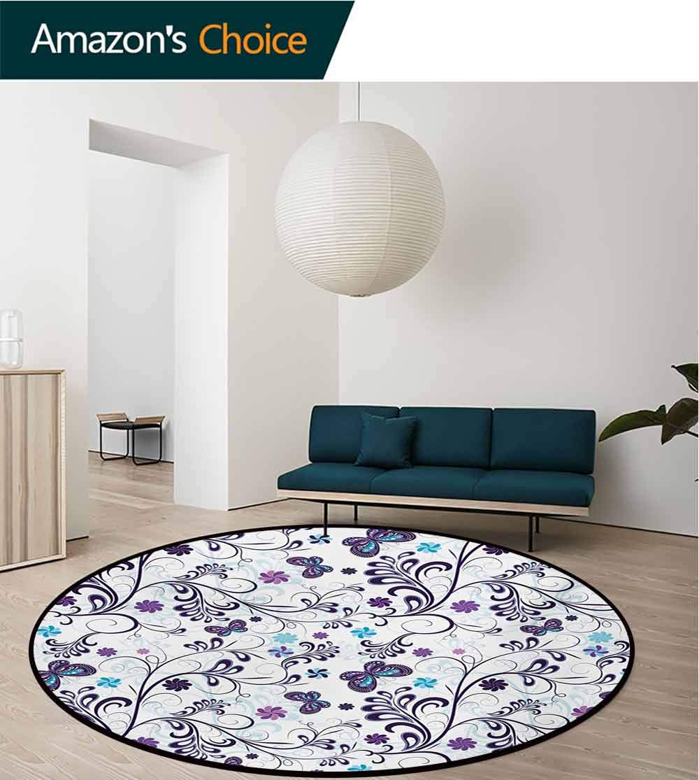 RUGSMAT Floral Luxury Round Area Rugs,Spring with Flying Inspirational Butterflies and Swirls Branches Design Super Soft Living Room Bedroom Carpet Woman Yoga Mat,Round-55 Inch Dark Purple Pale Blue
