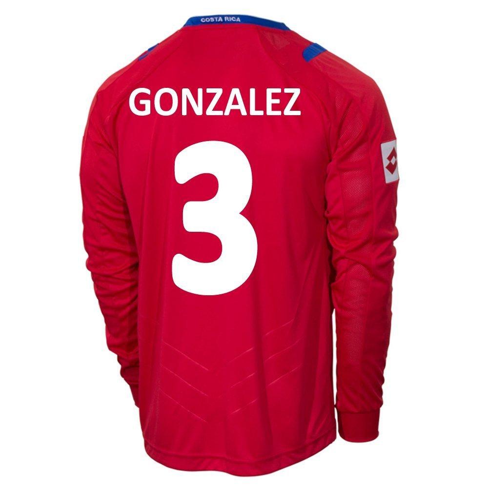 Lotto GONZALEZ #3 Costa Rica Home Jersey World Cup 2014 (Long Sleeve)/サッカーユニフォーム コスタリカ ホーム用 ワールドカップ2014 背番号3 ゴンサレス B00LBD6KHC S