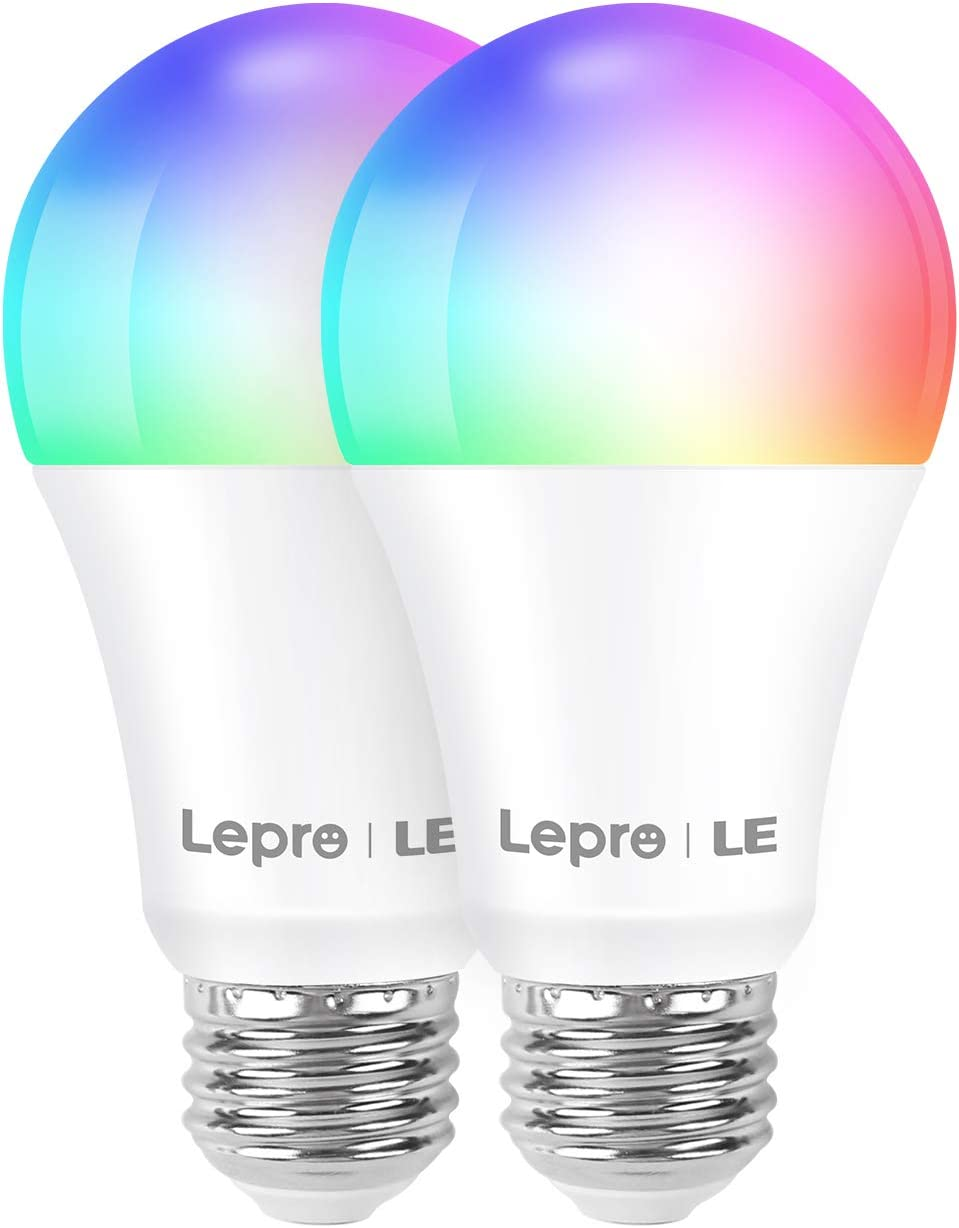 Lepro Smart Light Bulbs, RGBW Color Changing LED Bulbs, Works with Alexa and Google Home, Dimmable with App, 60 Watt Equivalent, A19 E26, 25000 Hour Lifetime, No Hub Required, 2.4G WiFi Only (2 Pack)