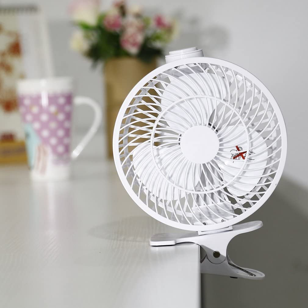 YKS Portable USB Clip-on Fan 360 Degree Rotatation Desk Fan, White