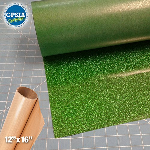 Siser Glitter Green Easyweed Heat Transfer Craft Vinyl Roll (150ft x 10'' Bulk w/ Teflon roll) by Siser