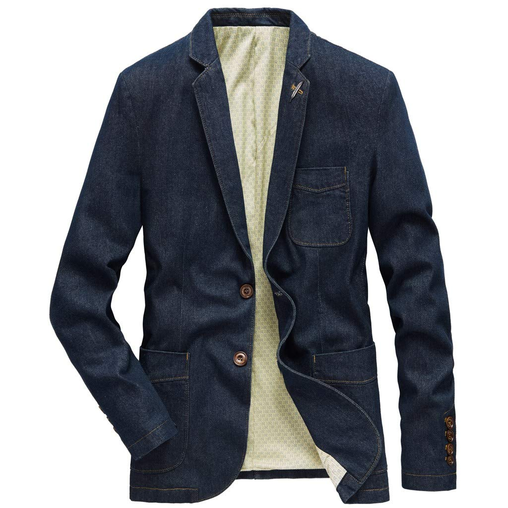 Allywit-Mens Casual Slim Button Suit Denim Button Jacket Coat Suit Blazer Jeans Jacket Coat by Allywit-Mens