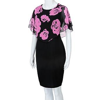 Womens Dresses,Womens Dresses Party,Womens Dress Suits,Moonuy,Girl Ladies Plus Size Rose Print Chiffon Ruffles Knee Mini Casual Dress For Women: ...