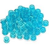LEGO Parts: 100 Round Transparent Blue Plates 1x1