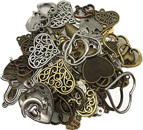 Shaped Sucker Rings (Goldnuo 100g Mixed Antique Metal Alloy Heart-shaped Pendant Charms Bracelet Necklace Earrings Crafting DIY Jewelry Making Accessory (Heart-shaped))