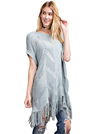 Women Dolman Sleeve Knitted Sweater Tunic With Tribal Shape