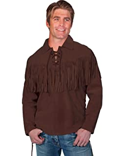 28aa84a309 Scully Men s Fringed Boar Suede Leather Shirt