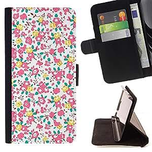 - Busy Pink Yellow Floral Design - Estilo PU billetera de cuero del soporte del tir???¡¯????n [solapa de cierre] Cubierta- For Sony Xperia Z2 D6502 £¨ Devil Case £©