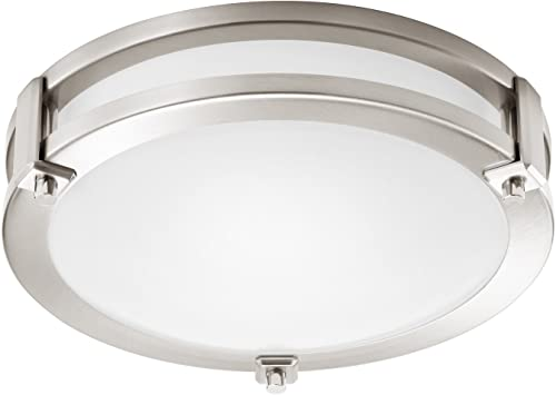 GetInLight LED Flush Mount Ceiling Light, 12-Inch, 15W 75W Equivalent , Brushed Nickel Finish, 4000K Bright White , Dimmable, Round, Dry Location Rated, ETL Listed, IN-0307-1-SN-40