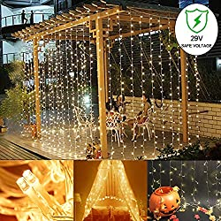 Ucharge Curtain Icicle Lights, 300 LED, 9.8ft x 9.8ft, 8 Modes Fairy String Lights, for Wedding Christmas Holiday Party Home Garden Backdrop, UL Listed(Warm White)