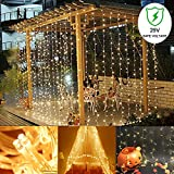 Ucharge Curtain Icicle Lights, 300 LED, 9.8ft x 9.8ft, 8 Modes Fairy String Lights, for Wedding...