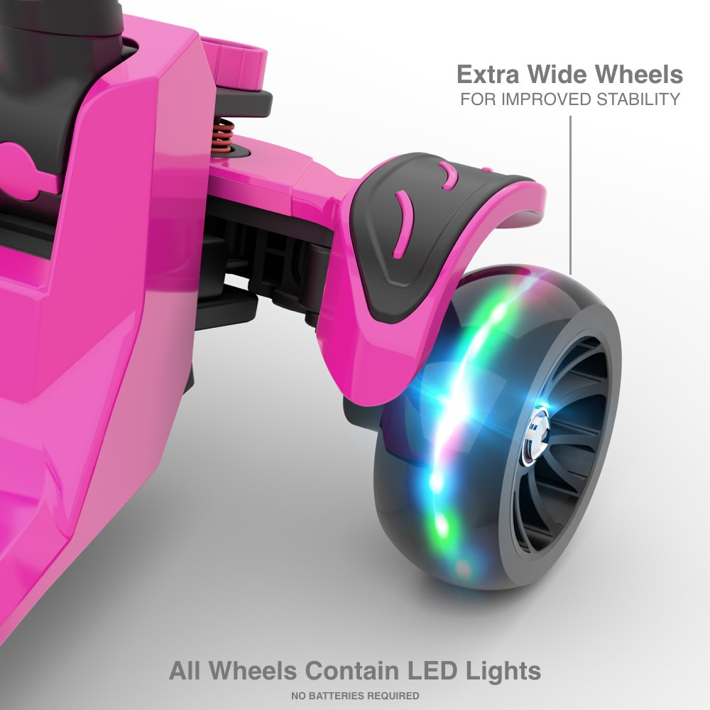 6KU Kids Kick Scooter with Adjustable Height, Lean to Steer, Flashing Wheels for Children 3-8 Years Old Pink by 6KU (Image #4)