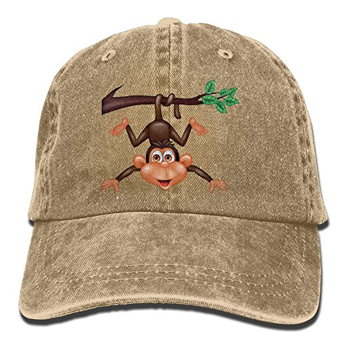 ONE-HEART HR Hanging Monkey Stylish Baseball Caps Denim Adjustable Hats -