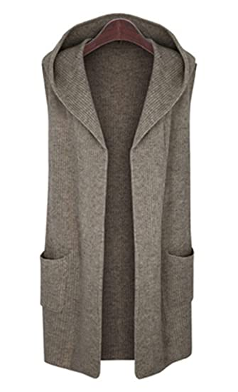 Cljj7 Womens Open Front Mid Long Hooded Knit Cardigan Sweater Vest