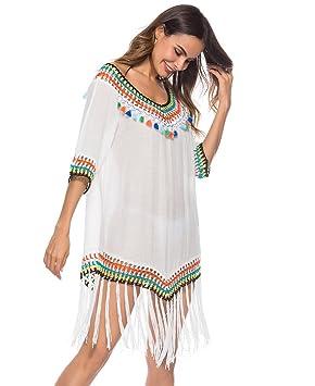 Moojm Las Mujeres Ahuecan hacia Fuera El Ganchillo Cubren Los Vestidos De La Playa con Cuello