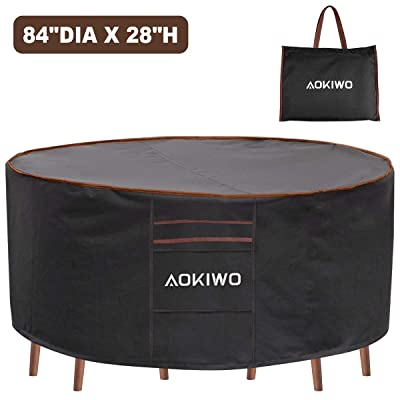 """AOKIWO Outdoor Patio Furniture Covers, 84"""" Round Patio Table and Chair Set Cover Durable Waterproof UV Resistant Anti-Fading Cover 84"""" Dia x 28"""" H: Kitchen & Dining"""