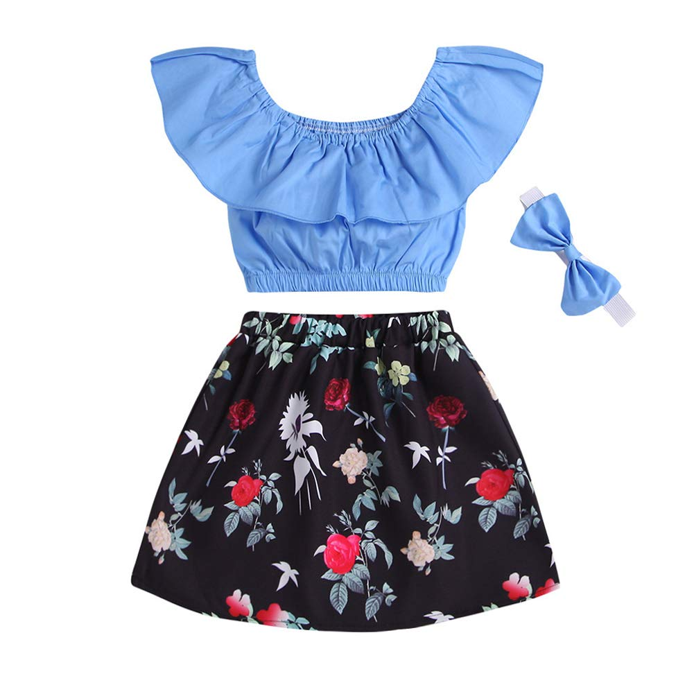 Floral Skirt OUTGLE Toddler Girl Lotus Sleeve Off Shoulder Top Bow Headband Baby Girl Summer Outfits Set