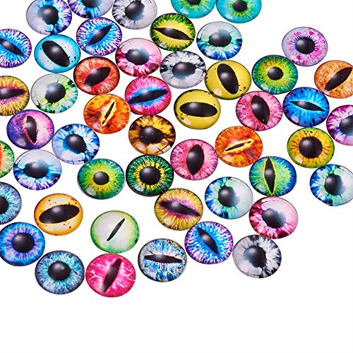 (Pandahall 200PCS 12mm Mixed Color Lucky Evil Eye Glass Flatback Scrapbooking Dome Cabochons )