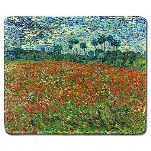 (dealzEpic - Art Mousepad - Natural Rubber Mouse Pad with Famous Fine Art Painting of Poppy Field by Vincent Van Gogh - Stitched Edges - 9.5x7.9 inches)