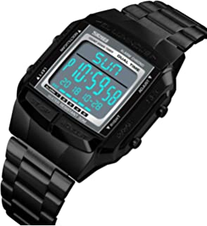 Mens Luxury Digital Watches Multifunctional Stopwatch Countdown Alarm Backlight Water Resistant Watch