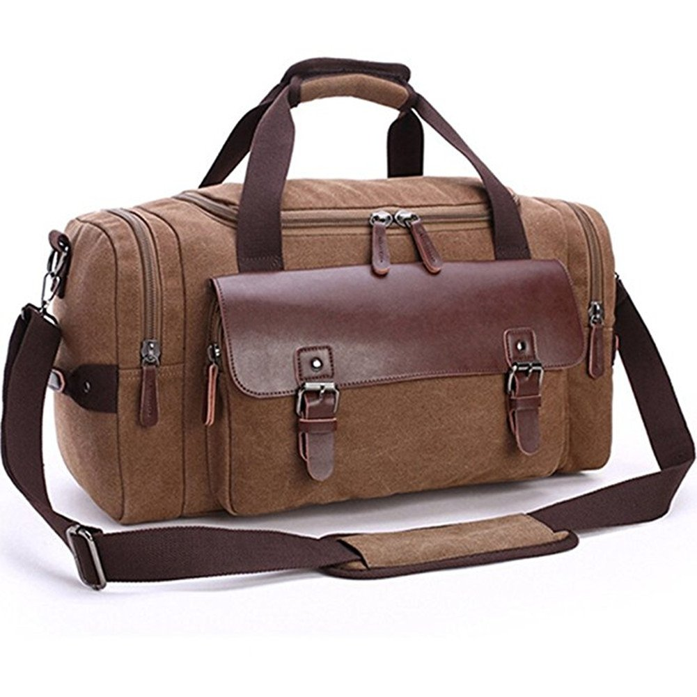 Canvas Duffel Bag, Aidonger Vintage Canvas Weekender Bag Travel Bag Sports Duffel with Shoulder Strap (Coffee-21)