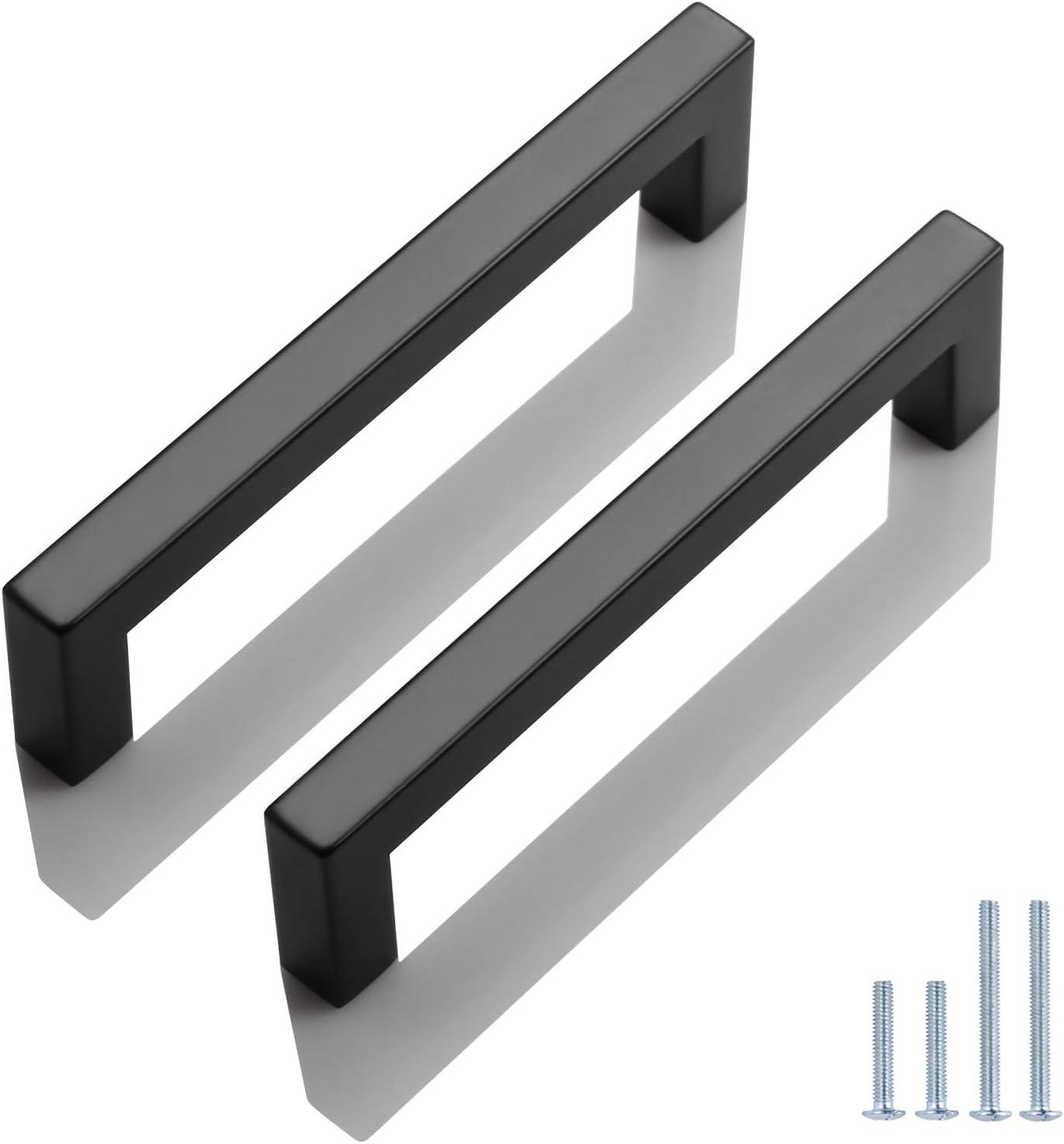 30 Pack Probrico Black Cabinet Pulls Square Kitchen Cabinet Hardware 5 Inch 128mm Hole Center Modern Drawer Handles Stainless Steel Matte Black Drawer Pulls For Cupboard Amazon Com