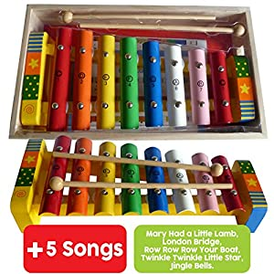 Childrens Wooden Musical Instrument Xylophone Glockenspiel presented in wooden box and Song Sheets with 5 tunes 18 months