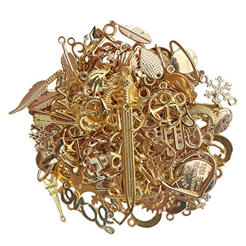 - VIIRY 100 Gram Mixed Charms Pendants for Jewelry Making,Wholesale Bulk Antique Gold Assorted Charms Pendants for Necklace Bracelet Ankle Jewelry DIY Making Crafting(Gold)