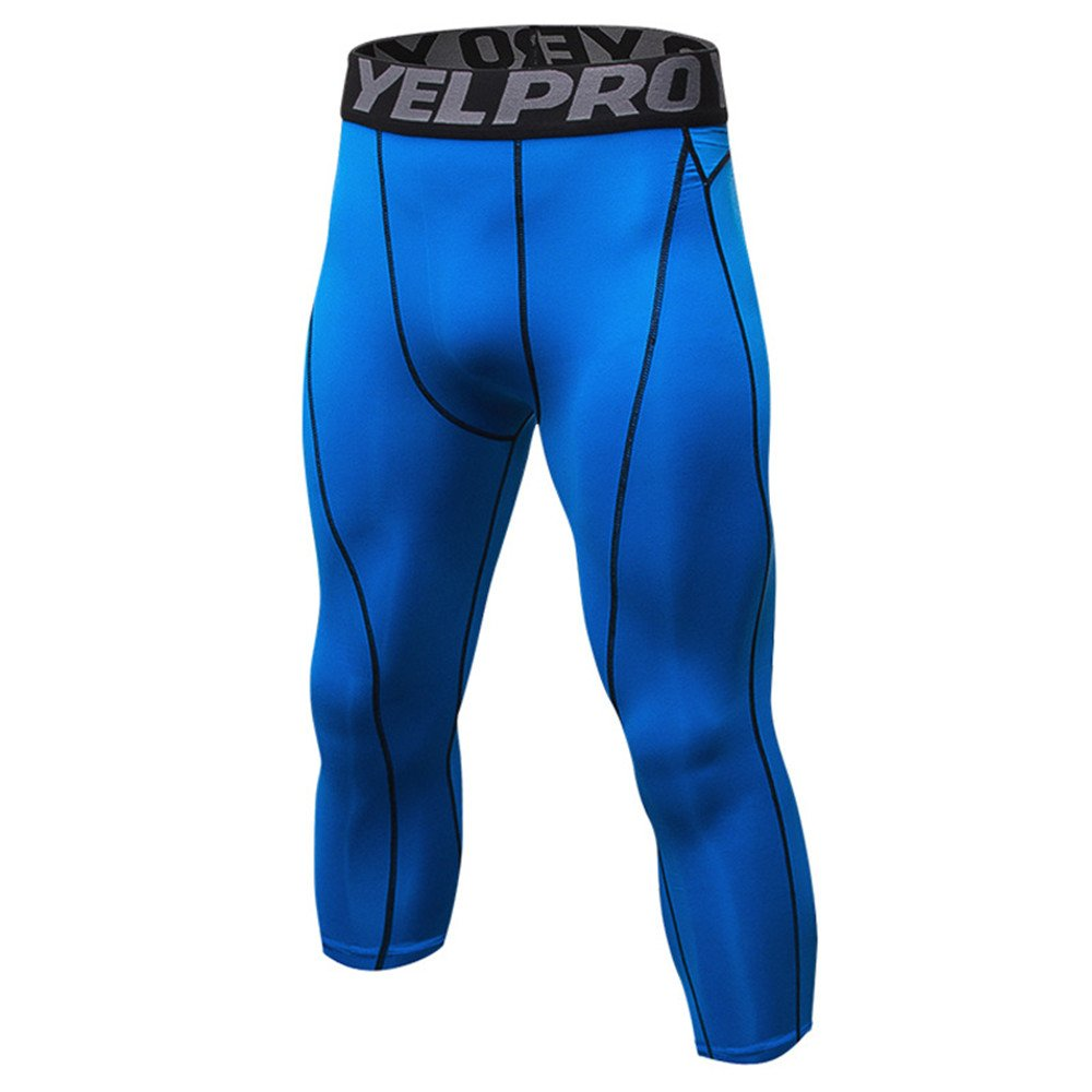 Sanke 3/4 Compression Workout Capri Tight Pants Mens Sports Running Leggings