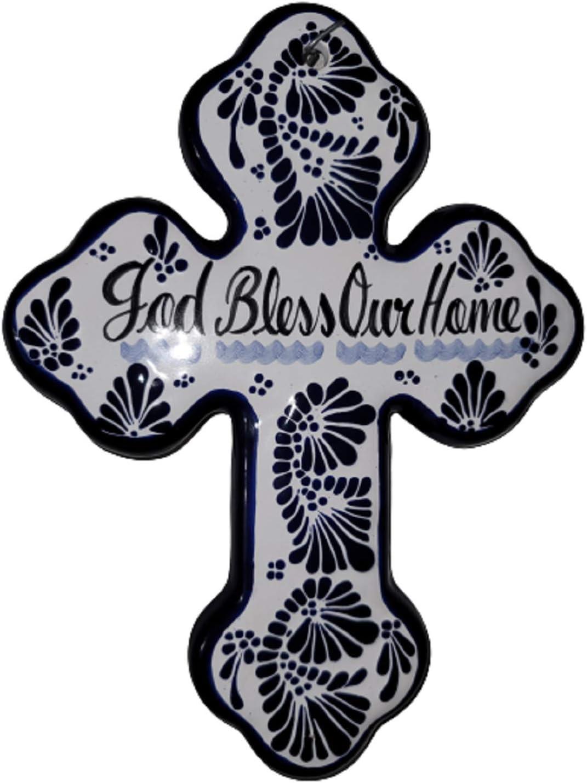 MEXILIFE TALAVERA HOME WALL DECOR - CATHOLIC GIFTS - CROSS WALL DECOR - CHRISTIAN GIFT. (white/Blue)