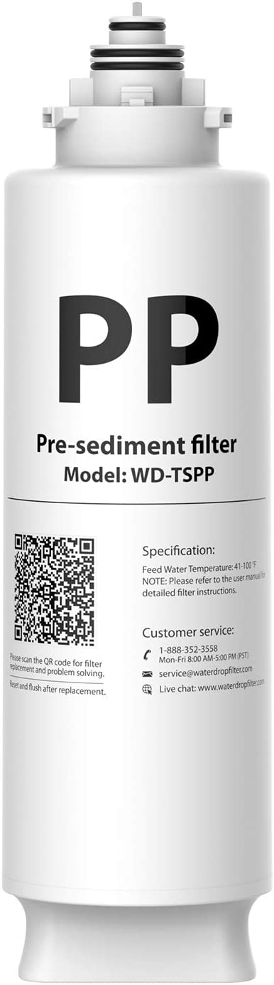 Waterdrop TSPP Under Sink Sediment Water Filter, Replacement TSU-W 3-Stage Ultra-Filtration Under Sink Water Filter System, 1 Pack
